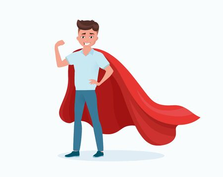 Man, boy in red cloak saves the world. Strength, power, luck and hero. Cartoon male character isolated on white background. Vector illustration, flat style.