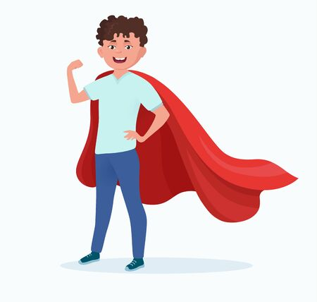 Boy in red cloak saves the world. Strength, power, luck, hero. Cartoon male character isolated on white background. Vector illustration, flat style.