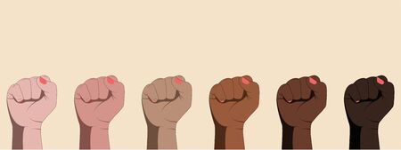 Set of female dark-skinned and fair-skinned hands with clenched fists on white background. Feminism, equality, protest, struggle, discrimination against women, women's rights. Vector illustration.