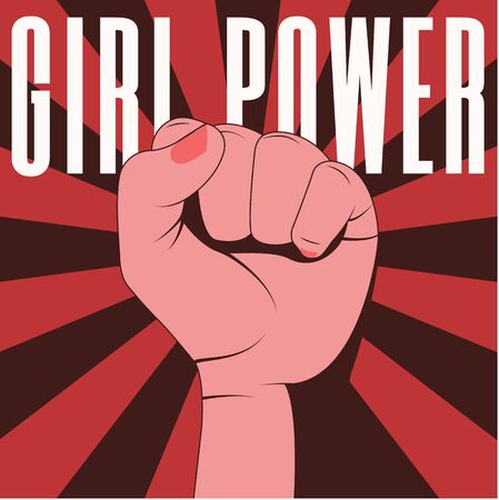 Girl power. Red poster with female fair-skinned hand with clenched fist. Feminism, equality, protest, struggle, discrimination against women, women's rights. Pop art style, vector.