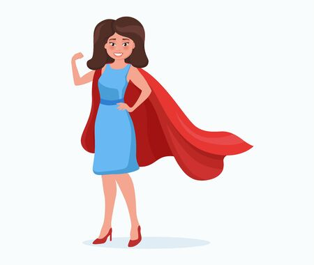 Woman, girl in red cloak saves the world. Strength, power, luck, superwoman, hero. Cartoon female character isolated on white background. Vector illustration, flat style.