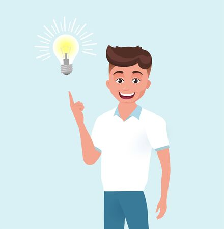 Man, boy has an idea. Male character with lightbulb isolated on blue background. Vector illustration, flat style. Ilustração