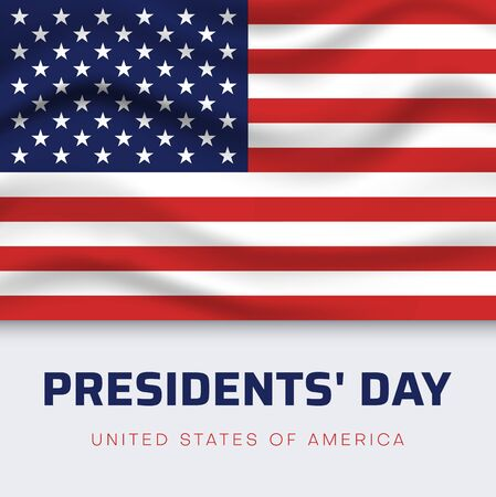 Presidents Day in USA. White greeting poster with American flag. Vector illustration.