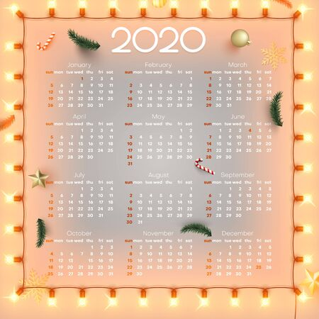 Shiny calendar for 2020 year with decorative lanterns and lights. Week starts from Sunday. Vector paper layout.