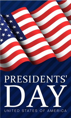 Presidents Day in USA. Blue greeting poster with American flag. Vector illustration. Ilustrace