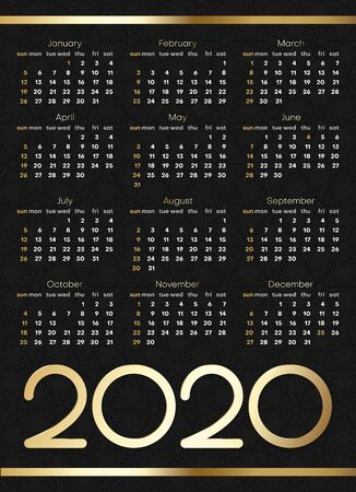 Black and golden calendar for 2020 year. Week starts from Sunday. Vector paper layout.