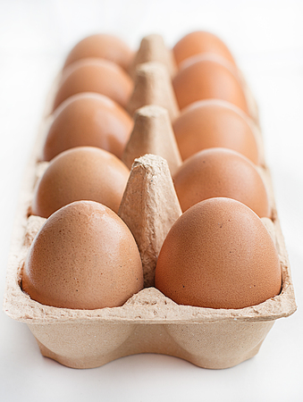 egg box: Eggs in a carton box. Isolated