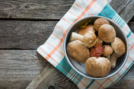 overhead view: Fresh white mushrooms from  forest in basket on a rustic wooden board, overhead view. Stock Photo