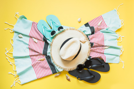 f3e69ed9 Outfit for beach and tropical vacations, straw beach sunhat,towel, sun  glasses on