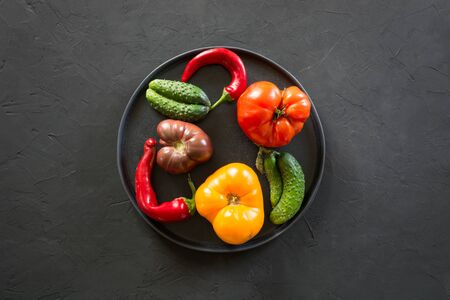 Oddly shaped organic colorful tomato, pepper, cucumber in plate on black concrete. Concept of organic vegetables. Stok Fotoğraf
