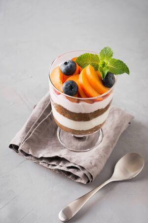 One apricot trifle, chocolate biscuit, layered dessert with fresh berry and gentle cream cheese on grey background. Selective focus.