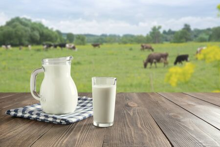 Fresh milk in glass on dark wooden tabletop and blurred landscape with cow on meadow. Healthy eating. Rustic style.