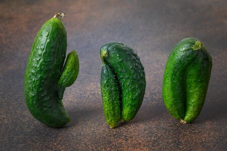 Ugly three cucumbers. Concept organic homegrown vegetables. Close up.