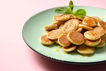 Tiny cereals pancake. Close up. Tasty breakfast. Reklamní fotografie