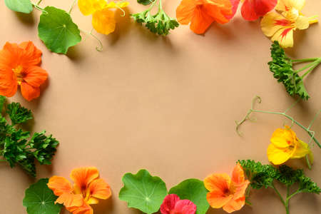 Edible nasturtium flowers and fresh greens on natural beige. Top view. Space for text. Trendy food decor.
