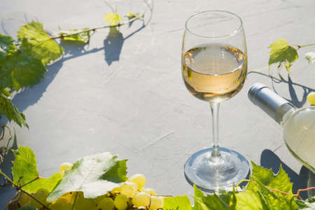 Border of glass with white wine and grape in sunny summer rays on grey table. Close up. Outdoors.