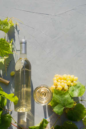 Bottle of white wine with grape on grey table in sunny rays. Outdoors. Vertical composition. View from above.
