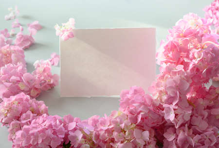 Festive empty blank or invitation with pink hydrangea around. Flower composition with copy space on grey. Soft focus.
