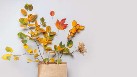 Fall leaves in craft paper bag on grey background. View from above. Concept autumn sale with copy space.