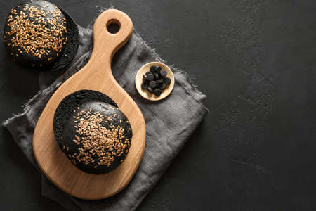 Whole grain gluten-free charcoal bread or buns.