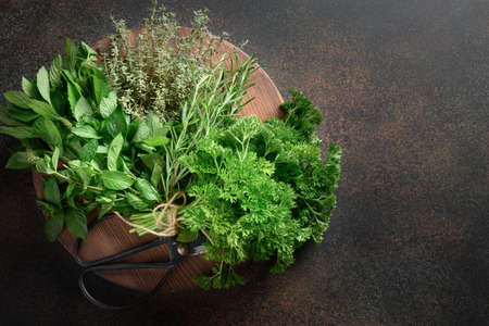 Homegrown fresh parsley, mint ,thyme, rosemary on brown background.