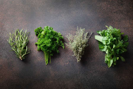 Homegrown fresh parsley, mint ,thyme, rosemary on brown background. Reklamní fotografie - 166666568
