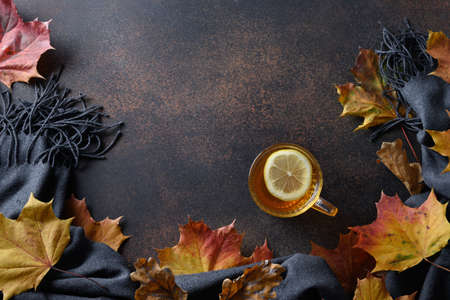 Warming tea with lemon in cozy lifestyle with fall leaves and cozy scarf on brown. Top view with copy space. Reklamní fotografie - 166558967