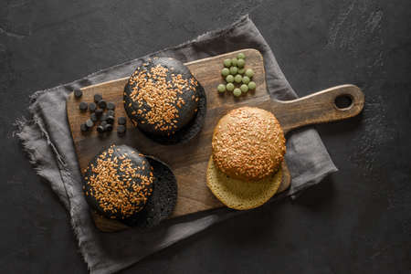 Gluten free trendy three vegan burger buns.