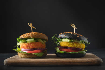 Vegan Black Burgers of vegetables, cabbage and carrot meatball as plant based meat. Reklamní fotografie