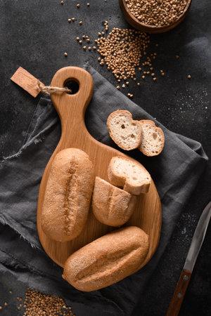 Gluten free healthy buckwheat bread on black.