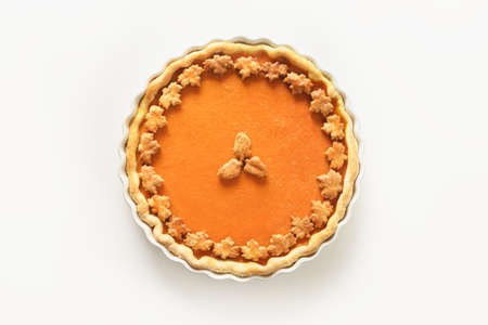 Traditional American Pumpkin Pie. Homemade pastry for Thanksgiving Day.