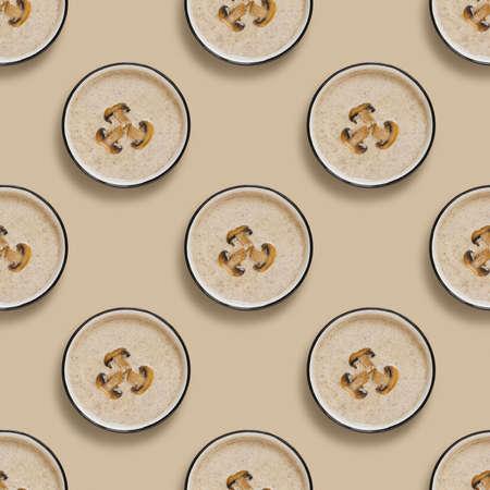 Seamless pattern of Mushroom Champignon cream soup .