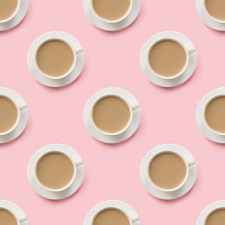 Seamless pattern of cup with latte coffee with milk.