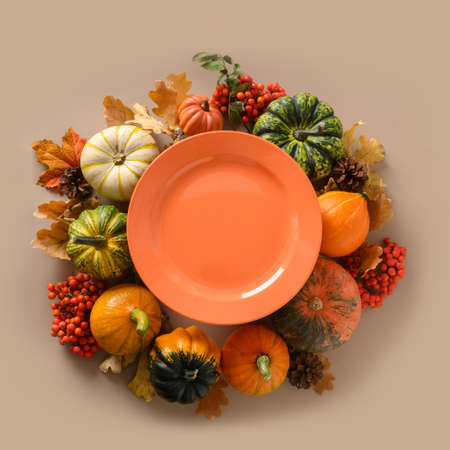 Fall harvest of colorful pumpkins and falled leaves and orange plate in the center.