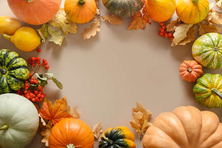 Pumpkins and colorful fall leaves on brown background. Standard-Bild