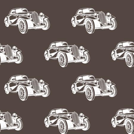 Hand drawn doodle cartoon cars seamless pattern. Transport sketch.