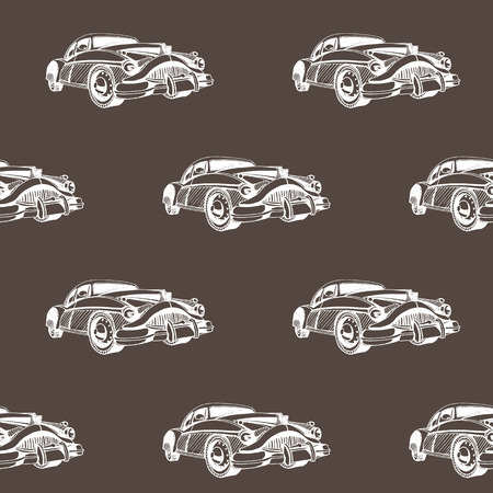 Hand drawn doodle cartoon cars seamless pattern. Transport sketch.