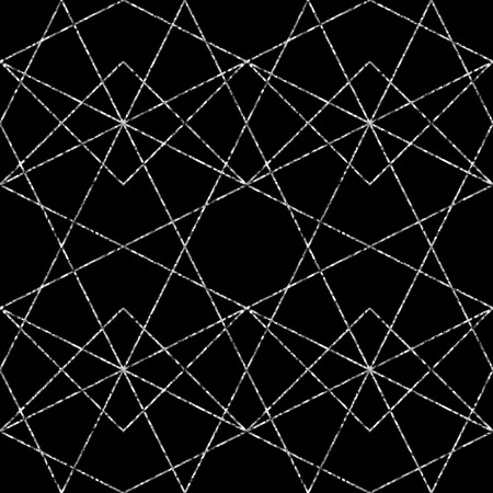 Seamless geometric brilliant pattern. Vector abstract classical background in black and white color Vettoriali