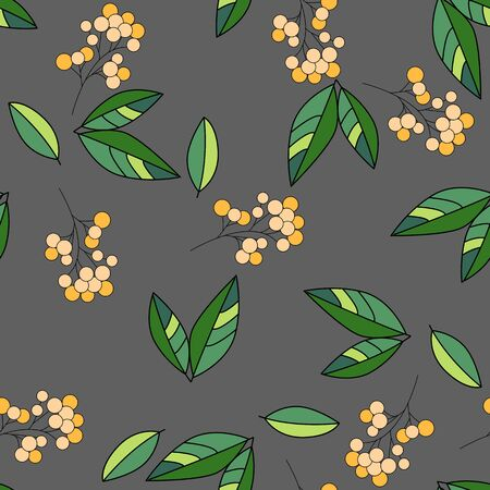 vector seamless pattern with leaves and branches. Can be used for fabrics, wallpapers, scrap-booking, ornamental template for design and decoration, etc