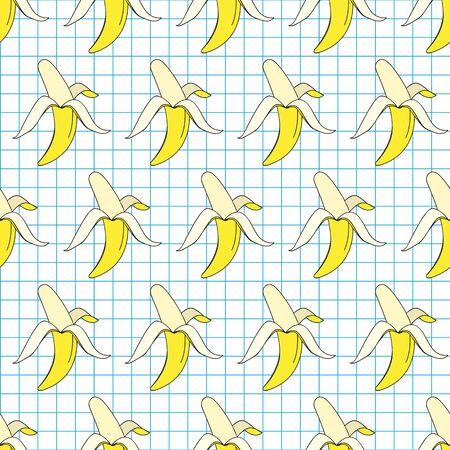 Vector summer exotic pattern with yellow bananas. Bananas seamless pattern. 向量圖像