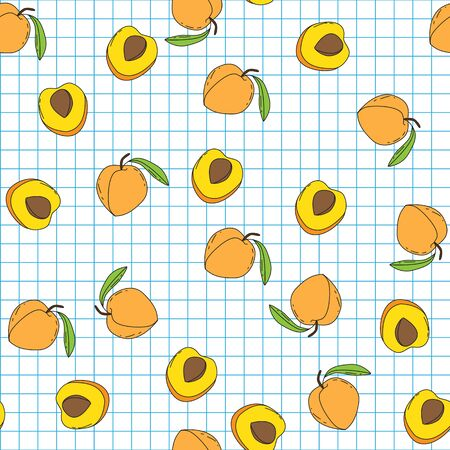 Background with juicy fruits. Fruit seamless pattern.