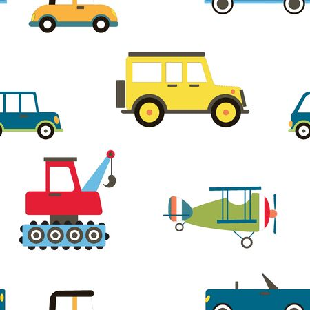 Cartoon Transportation Background for Kids. Vector Seamless Pattern with doodle Toy Cars