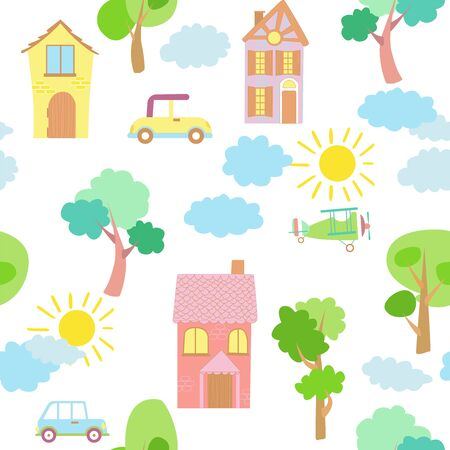 Seamless vector pattern of children's drawing. House, clouds, trees. Line vector drawing. Drawn by a child. Suitable for children's room decoration, fabric, decor. Doodle style.