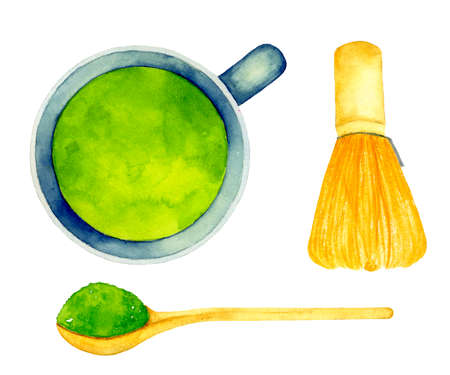Green Matcha Tea in cup and Whisk, Spoon. Asian product for healthy lifestyle. Watercolor illustration of herbal tea. Traditional japanese drink. For print, greeting cards, wrapping paper, stickers, decor, packaging, textile design, menu, recipe.