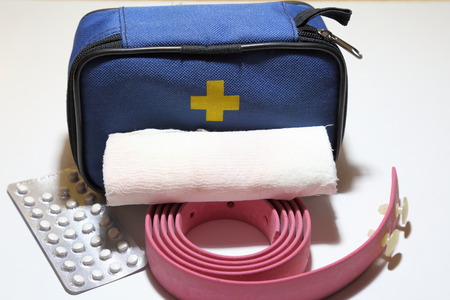First aid kit for first aid in case of trauma, tourniquet for stopping bleeding, bandage for bandaging. 版權商用圖片