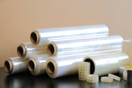 Packaging materials: stretch film, adhesive tape, paint tape.