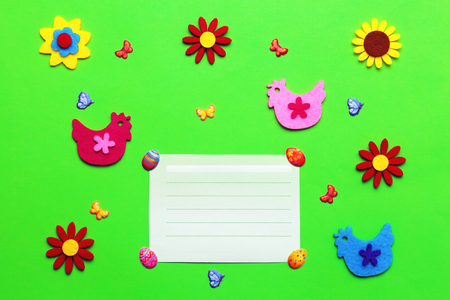 Bright green Easter baby background for cover with flowers, butterflies and chickens.