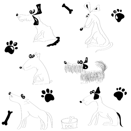 Hand-drawn black and white set of sketches of silhouettes of funny funny dogs on a white background