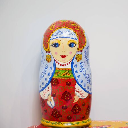 Moscow, Russia - 02272019: Matryoshka dolls various, Slavic Russian national culture, folklore and creativity. Wooden bright colorful painted doll, symbol of Russia, handmade souvenir of original de
