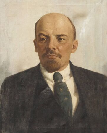 Saratov, Russia - 08242019: Lenin, Ulyanov Vladimir Ilyich, painting, retro portrait. The leader is a revolutionary, Bolshevik, communist, state politician of the socialist Soviet Union. History of